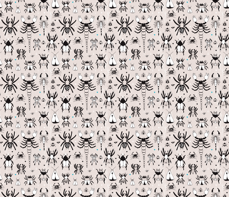 Bugs and creeps funny little botanical insects fabric by littlesmilemakers on Spoonflower - custom fabric