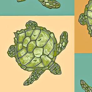 Bright Teal & Peach Squares of Batik Green Turtles