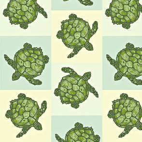 Sea Turtle Batik Squares in Soft Yellow, Blue and Green