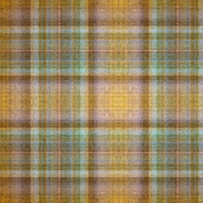 Yellow, Green and Brown Chalk in a Plaid