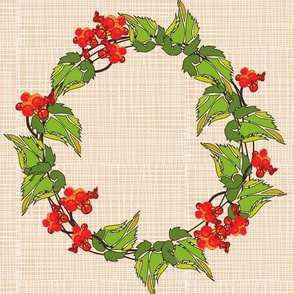 Bittersweet wreath on Cream Crosshatch
