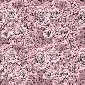 Pink Rose Tattoo Shaded Floral Small Print