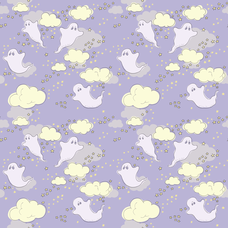 starry ghosts fabric by woodle_doo on Spoonflower - custom fabric