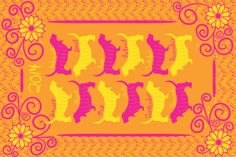 Sunny Bassets 2014 Calendar fabric by robyriker on Spoonflower - custom fabric