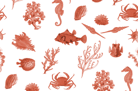 Monterey in Red fabric by sparrowsong on Spoonflower - custom fabric