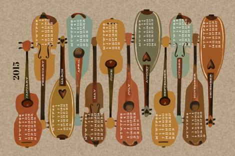 2015 Instrument Calendar  - Vintage fabric by andrea_lauren on Spoonflower - custom fabric