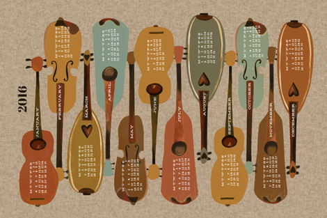 2016 Instrument Calendar  - Vintage fabric by andrea_lauren on Spoonflower - custom fabric