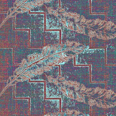Feather Fall - verdigris, teal, plum