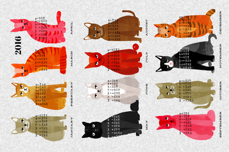 2016 Cat Calendar - Light Version  fabric by andrea_lauren on Spoonflower - custom fabric
