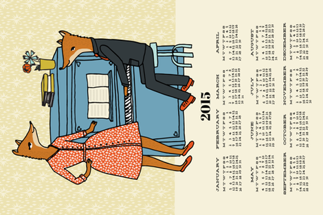 2015 Foxes at the Piano Calendar fabric by andrea_lauren on Spoonflower - custom fabric