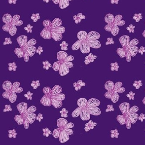 Purple Pencil Crayon Flowers