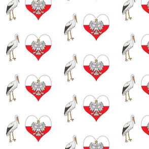 Polish Stork, Eagle and Heart