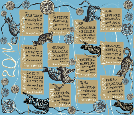 cat lover's calendar 2014 blue fabric by kociara on Spoonflower - custom fabric
