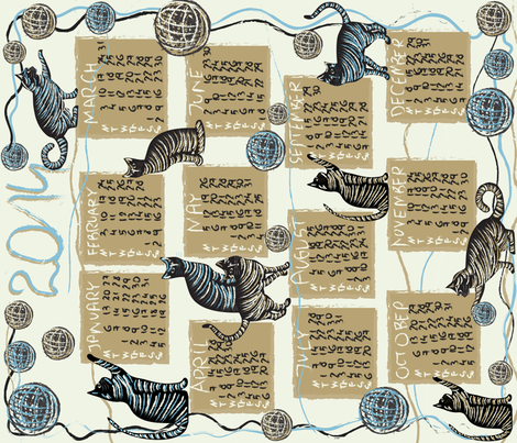 cat lover's calendar 2014 fabric by kociara on Spoonflower - custom fabric