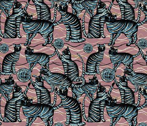 playing cats on mauve fabric by kociara on Spoonflower - custom fabric