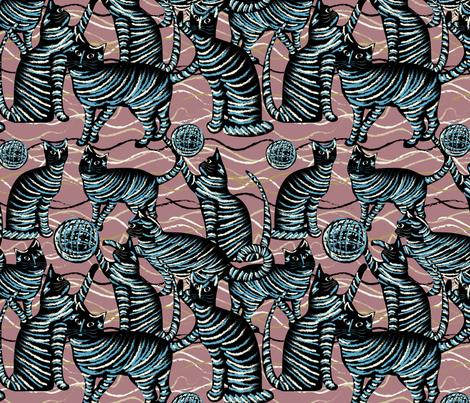 playing cats on mauve fabric by kociara on Spoonflower - custom fabric