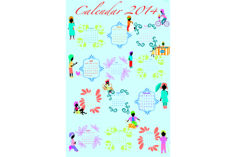 Calendar 2014 fabric by magneetje on Spoonflower - custom fabric