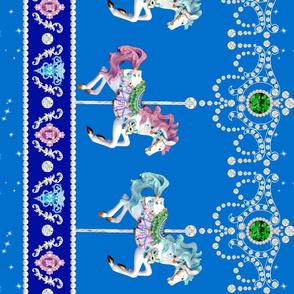 darker blue egl lolita carousel pony horse carnival border baroque Un Manege Robe jewels gems glitter sparkles stars