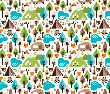 Woodland fox and mountain grizzly bear fabric by littlesmilemakers on Spoonflower - custom fabric