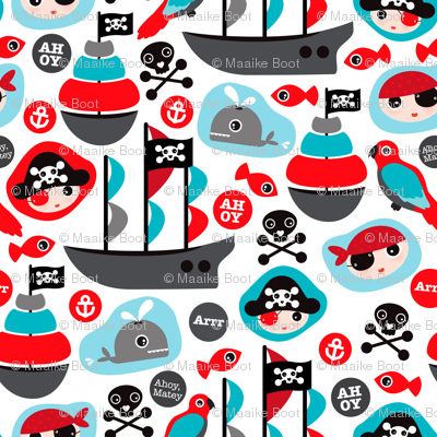 Ahoy pirates and parrot boys fabric
