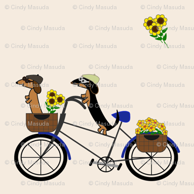 Dachshunds on Bicycle by Sudachan - Light Taupe