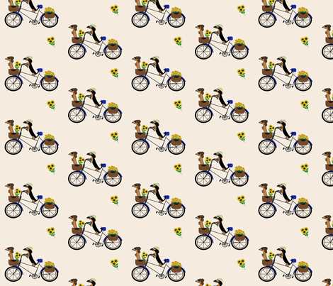 Dachshunds on Bicycle by Sudachan - Light Taupe fabric by sudachan on Spoonflower - custom fabric