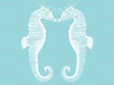 pair of sea horses blue