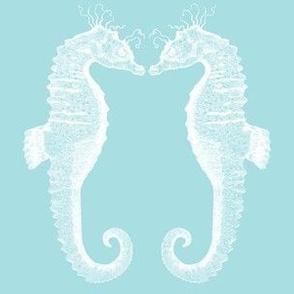pair of sea horses blue