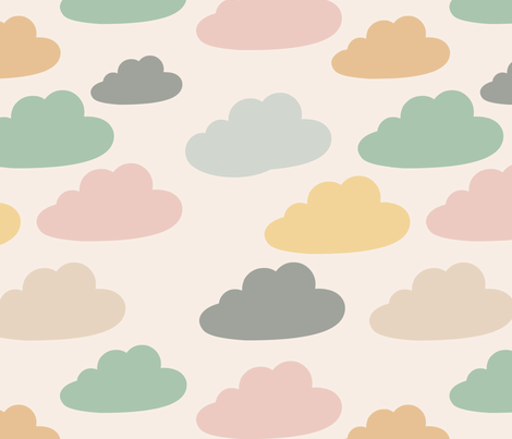 Muted Clouds fabric by marilynpatrizio on Spoonflower - custom fabric