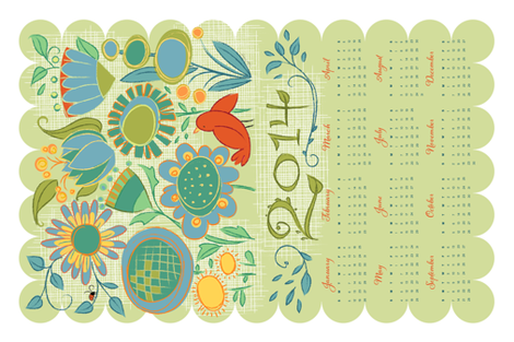 2014 Garden Friends Calendar_GrnBlue_27x18 fabric by robinpickens on Spoonflower - custom fabric