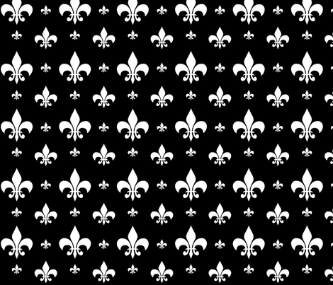 White Fleur-de-lis on Black fabric by carbonatedcreations on Spoonflower - custom fabric