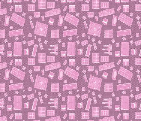Pink Windows and Doors fabric by koalalady on Spoonflower - custom fabric