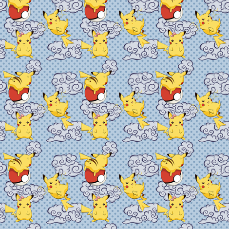 Pikachus and Clouds fabric by bunhash on Spoonflower - custom fabric