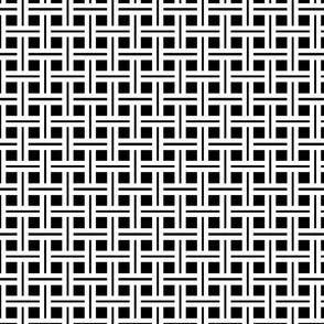 White Stripes on Black Open Weave