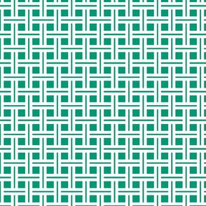 White on Emerald Open Weave Stripes