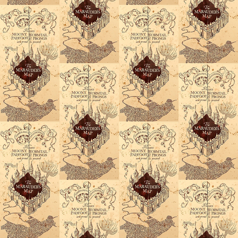 Marauders Map Small Print Harry Potter  fabric by kathrynrose on Spoonflower - custom fabric