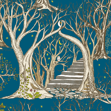 Ghostly Trees in the Spooky Twilight Forest fabric by rhondadesigns on Spoonflower - custom fabric