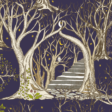Ghostly Trees in the Spooky Misty Forest fabric by rhondadesigns on Spoonflower - custom fabric