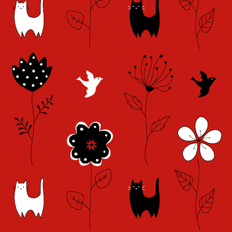 Cats and Flowers fabric by wow on Spoonflower - custom fabric