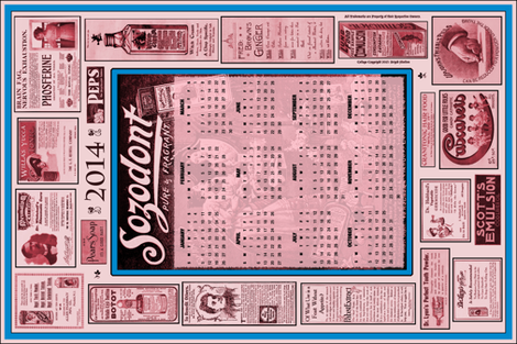 Teatowel Ad Calendar 2014 fabric by callioperosehandcarjones on Spoonflower - custom fabric