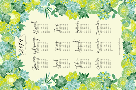 Succulent Tea Towel 2014 Calendar in fresh green fabric by emilyannstudio on Spoonflower - custom fabric