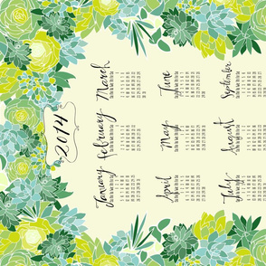 Succulent Tea Towel 2014 Calendar in fresh green
