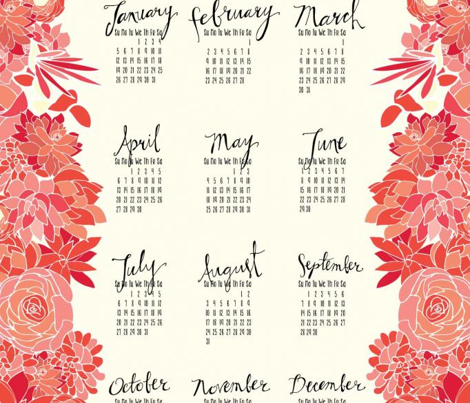 Succulent Tea Towel 2014 Calendar in Pink