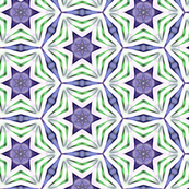 Purple & Green Circled Stars Pattern