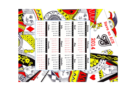 Playing cards 2014 calendar -ed fabric by lahib on Spoonflower - custom fabric