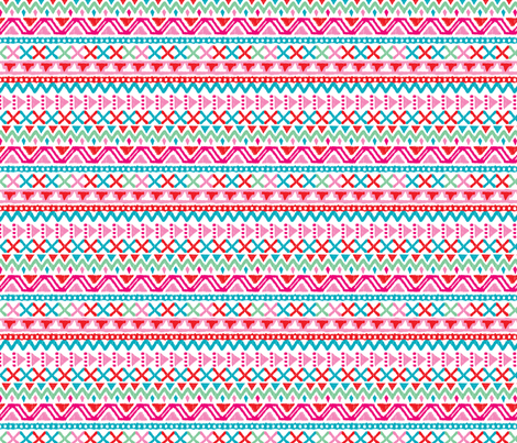 Colorful tribal aztec pink folkore fabric by littlesmilemakers on Spoonflower - custom fabric