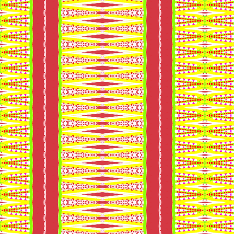 Yellow and Red  with Green Stripe