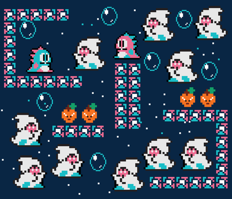 Bubble Bobble ghosts fabric by misslife on Spoonflower - custom fabric