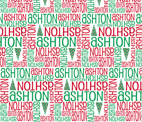 Personalised Name Fabric - Christmas Trees