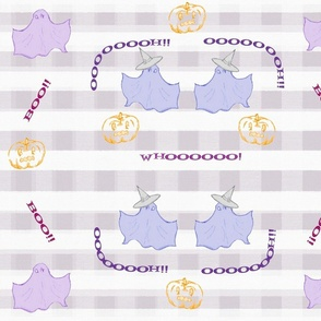 Dancing Ghosts purple check